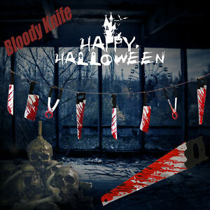Halloween Bloody Weapon Hanging Prop Bloody Knife Party Decoration Banner Scary