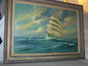 Seascape Original Oil On Canvas Marine Gallery Painting Signed Muller