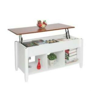 Lift Top Coffee Table Modern Furniture Hidden Compartment and Lift Tablet White $139.99