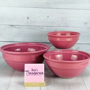 Emile Henry Made France ROSE PINK Serving Mixing Nesting Bowls 12quot; 10quot; 8quot; Set 3