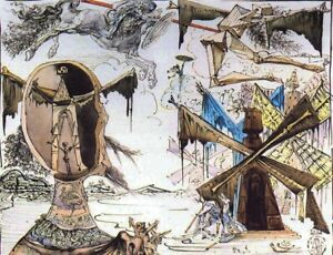 SALVADOR DALI DON QUIXOTE AND THE WINDMILLS $9.95