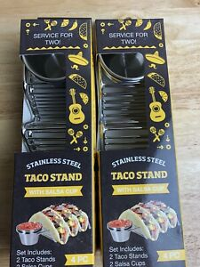 NEW 2 Sets Of Taco Holders with Salsa Guac Cups Service For 4 Stainless Steel