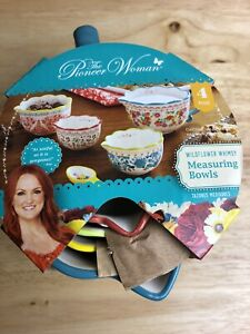 Pioneer Woman 4 Pc WILDFLOWER WHIMSY Stoneware Measuring Bowl Set NEW $15.99