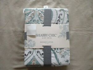 NEW Shabby Chic Fabric Shower Curtain CRAFTED MEDALLION Soft Greens Greys amp; Tans