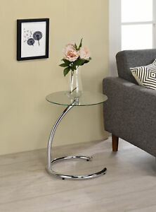 Kings Brand Furniture Chrome with Glass Modern Accent Side End Table
