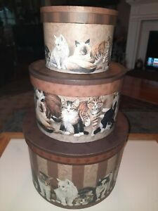 STACKING NESTING BOXES cat pattern