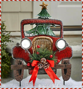 SOLAR Lighted Vintage Red Pickup TRUCK Yard STAKE Outdoor Christmas Holiday Home $15.99