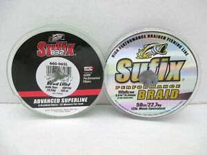 Lot 2 Sufix Fishing Line Performance Braid 50 LB 100 832 Advanced 65LB 150 YD