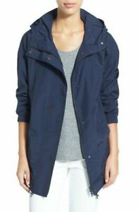 Eileen Fisher Large Weather Resistant Organic Cotton Nylon Hooded Jacket Navy $60.00