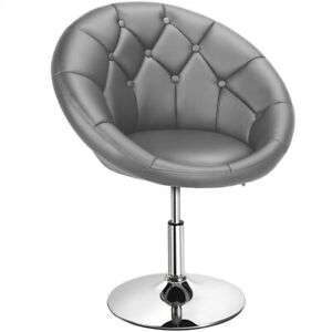Height Adjustable Round Tufted Back Chair Upholstered Swivel Chair Dark Gray