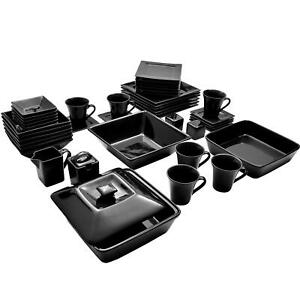 Dinnerware Set Plates Bowls Dishes Cup Mugs Saucer Shaker Home Square Black 45ct