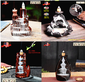 Ceramic Backflow Incense Cone Burner Holder Lotus Waterfall amp; 10 Cones Gift