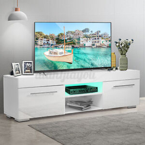 51quot; High Gloss LED TV Stand Cabinet White Modern Entertainment Center for 59quot; TV $99.99