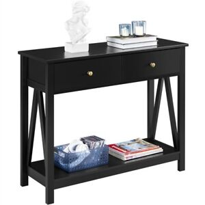 Entry Sofa Console Table w Drawer and Open Shelf for Entryway Living Room Black $97.99