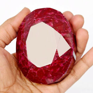 CERTIFIED Natural Red Ruby Loose Gemstone Oval Cut Huge Size Red Ruby Stone
