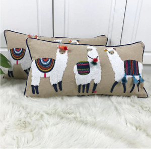 Cute Alpaca Cushion Cover Beige Embroidery Pillow Case with Tassels For Sofa Cou