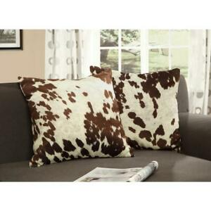 Brown and White Animal Print Cowhide Polyester 18 in x 18 in.Throw Pillow 2X SET