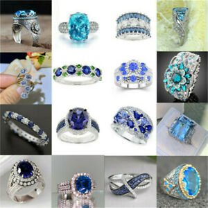 925 Silver Turkish Handmade Sapphire Ring Women Wedding Jewelry Gift Size 6 13