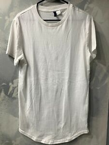 Hamp;M Divided Long Fit Short Sleeve T Shirt White Size XS $14.99