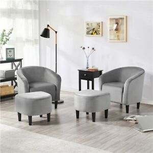 Faux Leather Upholstered Club Chair and Ottoman Set Accent Armchair with Ottoman