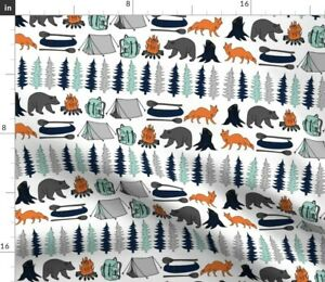 Boys Nursery Baby Boy Camping Adventure Mint And Spoonflower Fabric by the Yard