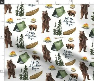 Woodland Bear Adventure Camping Boy Forest Bears Spoonflower Fabric by the Yard
