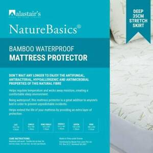 ALASTAIRS BAMBOO Natures Basics Waterproof Mattress Protector 300GSM ALL SIZES AU $44.95