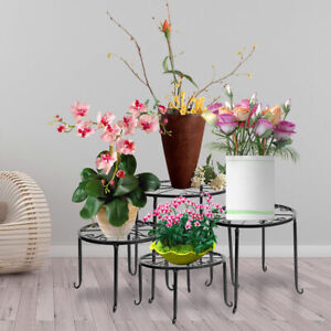 4 Pcs Metal Outdoor Indoor Pot Plant Stand Garden Decor Flower Rack Wrought Iron $28.49