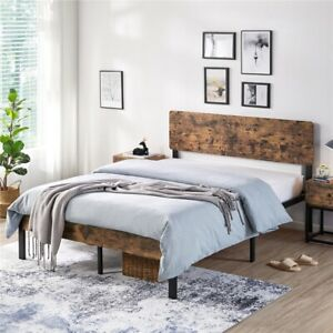 Vintage Style Full Queen Size Kid Metal Platform Bed Frame with Wooden Headboard $148.99