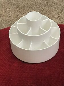 Pampered Chef White Tool Turn About Utensil Carousel Caddy Holder #2170