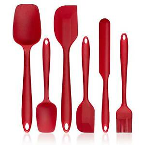 6pcs Spatula Set Silicone Spoons Mixing Kitchen Utensil Baking Cooking Tools Red