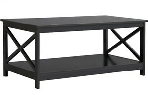 Modern Wood X Design Coffee Table w Open Storage Shelf for Living Room Furniture $83.99