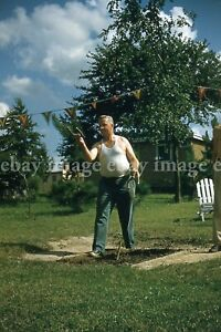 1956 VTG Men Playing Horseshoe Game 6 35mm Slide Photo Lot Outdoors Party Fab