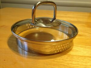 Replacement Stainless and Glass Lid for small saucepan pot 5 1 2quot; drain holes