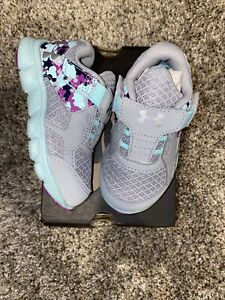 Under Armour 5K Toddler Girls Gray Purple Blue Sneakers NEW $26.99