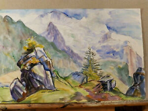 Mid Century #x27;SWISS ALPS#x27; Vintage Watercolor Painting Unknown Artist $45.50