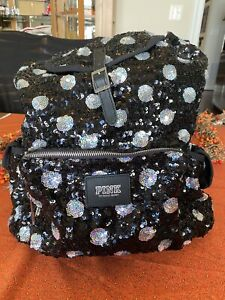 Victorias Secret Pink Backpack Sequin Polka Dot Black Silver Tote Bag Large $34.95