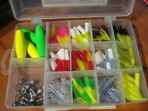115 Pc Leland#x27;s Best Crappie Magnet Kit Jig Lures Plastic Fishing Baits In Case