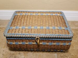 Vintage Wicker Sewing Box Basket Made in Japan 10.5quot; $9.99