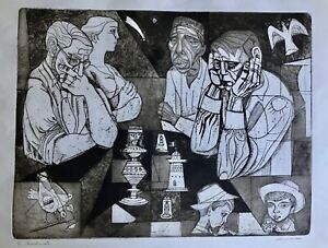 Vintage Irving Amen Aquatint quot;Checkmatequot; Etching Signed Artist#x27;s Proof 35 200 $175.00