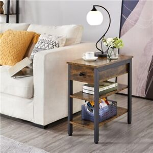 Retro End Table with Drawer and Shelves Bedside Table Narrow Nightstand