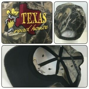 TEXAS ROADHOUSE CAMO HAT CAP CAMOUFLAGE BASEBALL MEN S SNAP BACK SPELL OUT $10.91