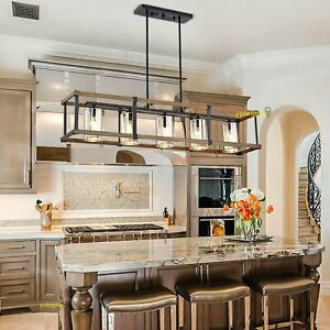 Modern Wood Chandelier Kitchen Island Light Glass Pendant Fixture Dining Room US $263.99