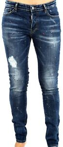 BLUE painted with patches DSQUARED2 BEST jeans model 2020 Men`s ones 5141