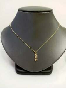 14KT Solid Yellow Gold Diamond Pendant And Chain