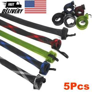 5Pcs Fishing Spinning Rod Sock Covers Rod Sleeves Braided Mesh Rod Protector