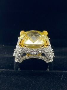 Italo Jewelry Woman#x27;s 4 Pronged Yellow Sapphire Engagement Ring Size 5.75