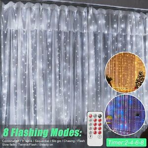 300LED Curtain Fairy Hanging String Lights Timer Wedding Party Xmas Wall Decor $14.95