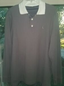 Vintage Nike Air Jordan 20th Anniversary Gray and White Long Sleeve Polo for Men $18.00