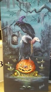 Original painting Bayou Halloween by kholland 12x24 $150.00